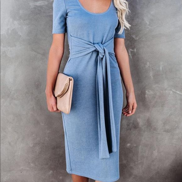 VICI Light Blue Tie Front Knit Midi Dress